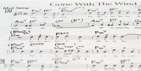 "Partitura del estándar ""Gone with the wind"""