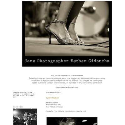 Portada de la web Jazz Photographer Esther Cidoncha